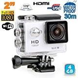 Caméra sport étanche WiFi 2' Full HD 1080p time lapse 170° argent 4 Go