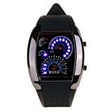 compteur Dial - SODIAL (R)Nouveau compteur Dial bracelet en caoutchouc noir bleu flash Dot Matrix LED Racing Montre