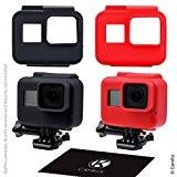 Etuis en Silicone pour le cadre de votre Gopro Hero 5 Black (Noir + Rouge, 2 étuis de protection - ...