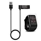 Garmin vivoactive HR Chargeur + Film protecteur d'écran, tusita® Câble USB de charge dock berceau de remplacement pour câble de ...