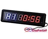 godrelish Tabata 4,6cm LED de boxe fitness Crossfit Gym Intervalle Minuteur Compte à rebours Horloge murale