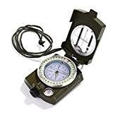 GWHOLE Boussole Multifonctionnelle Compass Portable en Métal pour Randonnée, Camping - Vert Armée