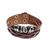 GYJUN Perles multi Croix Rivet cuir Bracelet