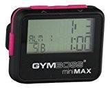 Gymboss miniMAX Minuteur d'intervalle et chronomètre - Coque noir/rose softcoat