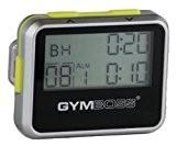 Gymboss Minuteur d'intervalle et chronomètre - COQUE BRILLANT ARGENTE / JAUNE