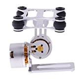 HJ 2-Axis aluminium Brushless Gimbal PTZ avec BGC 3.1Brushless Gimbal Controller/sensor pour GoPro FPV (Silver)