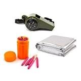 HuaYang outil de matériel d'urgence sifflet boussole avec thermomètre + mylar couverture thermique + allumettes imperméables