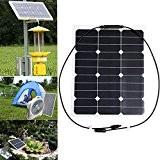 KING DO WAY 35W 18V Panneau Solaire Portable Imperméable Pour Camping Voyage Voiture Moto Jardin Bricolage Panel Solar Noir 510mmX410mm