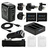 Kit Chargeur & Batterie pour Caméra GoPro 4 - Adaptateurs secteurs universel + Câble Usb + Chargeur Voiture + 2 ...