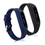kwmobile 2en1: 2x Bracelet de remplacement pour le sport pour Fitbit One en noir bleu foncé Dimensiones interiores: approx. 14 ...