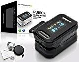 Pulsox - Oxymètre de pouls pour les doigts avec Écran couleur et Alarme, Étui, Batteries, Cordon, Manuel en 5 langues ...