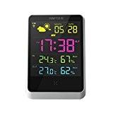 Réveil numérique avec grand écran LCD éclairage de nuit sans fil, station météo Horloge de table Intérieur/extérieur avec température/humidité/Forecast