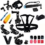 SHOOT All in One Kit Sports de plein air Accessoires pour GoPro Hero 5/4/3+/3/2 Tête Poitrine Sangle + Floating Bar ...