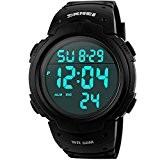 SunJas étanche LED numérique Chronomètre Chronographe Date Alarme Calendrier Horloge Sport Montre Bracelet Fashion Noir