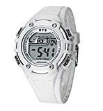 ufengke®sport plein air imperméable calendrier horloge lumière LED lumineuse alarme horloge électronique montre à bracelet pour filles femmes blanc