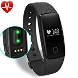 YAMAY® Fitness Tracker avec moniteur de fréquence cardiaque, Poignet Bluetooth Smart Bracelet Sport Podomètre Tracker activité avec cardiofréquencemètre / Step ...